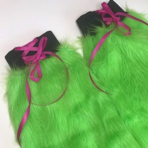 Neon Green Corset Flared Fur Leg Warmers Fluffies